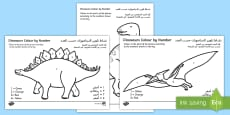 * NEW * Dinosaurs Colour by Number Arabic/English