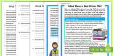 What Does a Bus Driver Do? Differentiated Reading Comprehension Activity