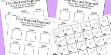 I Can Read and Fingerspell! Phase 4 CCV and CCVC Words Using Phase 3 Graphemes Activity Sheet Pack