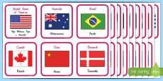 Ngā Whenua me ngā haki  Countries and Flags Flashcards Te Reo Maori
