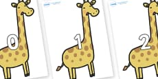 Numbers 0-100 on Giraffes