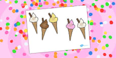 Five Big Ice Creams Counting Song Cut Outs