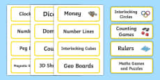 Yellow Themed Editable Maths Area Resource Labels