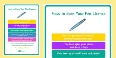 How To Earn Your Pen Licence Display Poster
