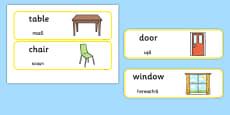 Classroom Furniture labels Romanian Translation