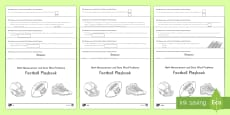 4th Grade Football Playbook (Measurement & Data Word Problems) Activity Booklet - USA