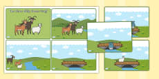The Three Billy Goats Gruff Story Sequencing Cards (4 per A4)