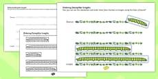 Ordering Caterpillar Lengths Activity Pack