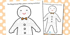 The Gingerbread Man Pattern Tracing Worksheet