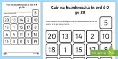 * NEW * Ordering Numbers from 0 to 20 Activity Sheet Gaeilge