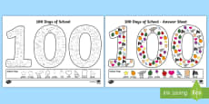 100 Days of School '100' Colouring Page