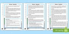 KS1 Winter Weather Differentiated Reading Comprehension Activity