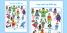 Superhero Themed I Spy With My Little Eye Activity Sheet