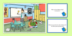 School Scene and Question Cards Polish Translation