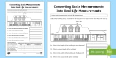 Converting Scale Measurements Into Real-Life Measurements 2 Activity Sheet