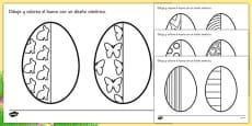 Ficha de simetría El huevo de pascua