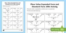 Place Value Expanded Form and Standard Form 100s Activity Sheet