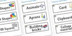 Elephant Themed Editable Classroom Resource Labels