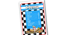 American Diner Role Play Menu In Pence