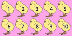 Numbers 0-50 on Chicks
