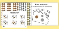 Maths Intervention Purse Coins