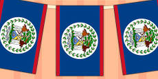 Belize Flag Display Bunting