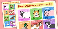 Farm Animals Display Poster Romanian Translation