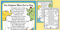 One Elephant Went Out to Play Nursery Rhyme Poster