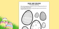 Easter Egg Read and Colour Activity Sheet Polish Translation