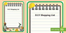 DIY Shop Role Play Shopping List