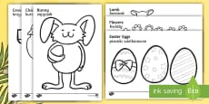 * NEW * Easter Colouring Images English/Polish