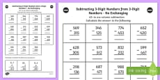 Subtracting 3 Digit Numbers from 3 Digit Numbers in a Column no Exchanging Worksheet Year 3