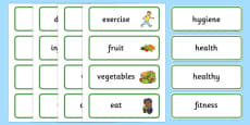 Health and Hygiene Word Cards