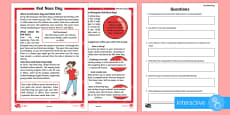 KS1 Comic Relief (Red Nose Day) Differentiated Comprehension Go Respond Activity Sheets