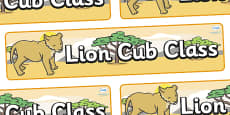 Lion Cub Themed Classroom Display Banner