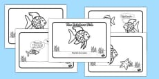 The Rainbow Fish Story Sequencing A4 Romanian Translation Black and White
