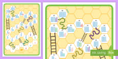 Snakes and Ladders Counting Number Shapes Board Game 1-30