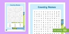 Country Names Word Search