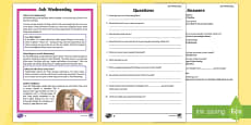 Ash Wednesday Differentiated Reading Comprehension Activity