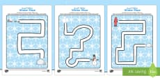Winter Pencil Control Path Activity Sheets Arabic/English