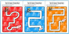 Tour de France Themed Pencil Control Sheets