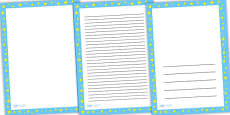Blue with Yellow Stars Page Borders
