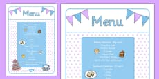 Afternoon Tea Role Play Menu