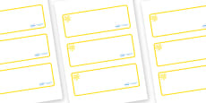Yellow Themed Editable Drawer-Peg-Name Labels (Blank)