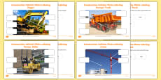 Building Site Construction Vehicles Photo Labelling Activity Pack
