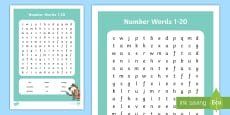 Number Words 1 to 20 Word Search