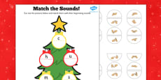 Initial Sound Christmas Tree Matching Activity with British Sign Language