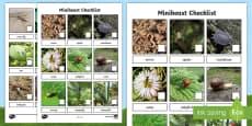 Minibeast Photo Checklist Activity Sheet