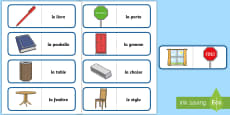 * NEW * Classroom Objects Card Game French