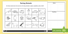 Sorting Animals into Sets Worksheet